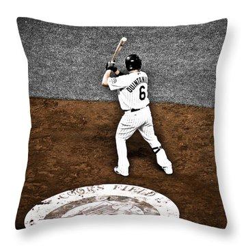Omar Quintanilla Pro Baseball Player Throw Pillow by Marilyn Hunt