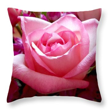 Ombre Pink Rose Bouquet Throw Pillow