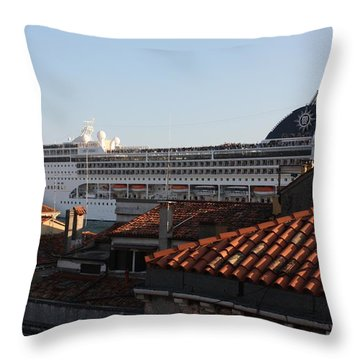 Throw Pillow featuring the photograph Omg There Is A Cruise Ship In My Backyard by Pat Purdy