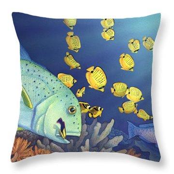 Omilu Bluefin Trevally Throw Pillow by Tammy Yee