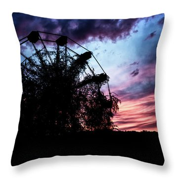Ominous Abandoned Ferris Wheel Throw Pillow