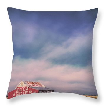 Ominous Clouds Over The Aggie Barn In Reagan, Texas Throw Pillow