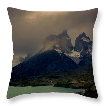 Ominous Peaks Throw Pillow by Andrew Matwijec