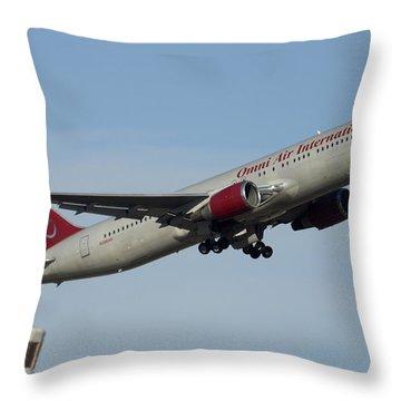 Omni Air International Boeing 767-319 N396ax Phoenix Sky Harbor January 2 2015 Throw Pillow