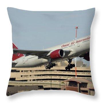Omni Air International Boeing 777-222 N927ax Phoenix Sky Harbor January 3 2015 Throw Pillow