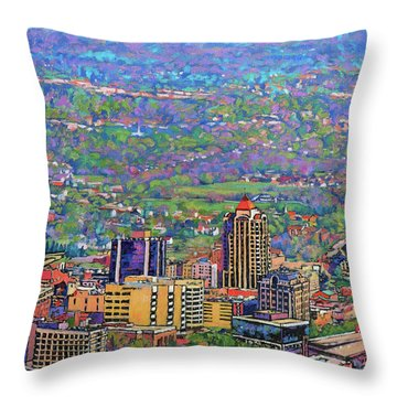 On A Clear Day - A View From Mill Mountain Throw Pillow