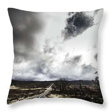 On A Dark Deserted Highway Throw Pillow