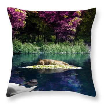 On A Lake Throw Pillow by Svetlana Sewell