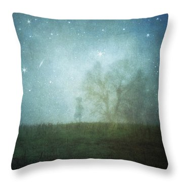 On A Starry Night, A Boy And His Tree Throw Pillow