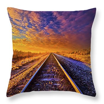 Throw Pillow featuring the photograph On A Train Bound For Nowhere by Phil Koch