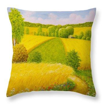 On August Grain Fields Throw Pillow