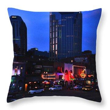 On Broadway In Nashville Throw Pillow by Susanne Van Hulst
