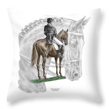 Throw Pillow featuring the drawing On Centerline - Dressage Horse Print Color Tinted by Kelli Swan