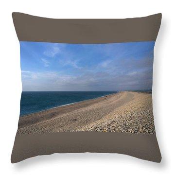 On Chesil Beach Throw Pillow by Anne Kotan
