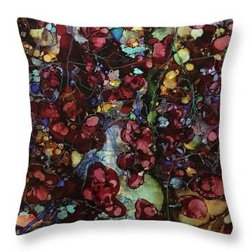 On Clustered Vine Throw Pillow