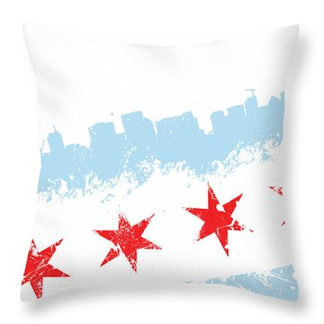 Chicago Flag Lean Throw Pillow