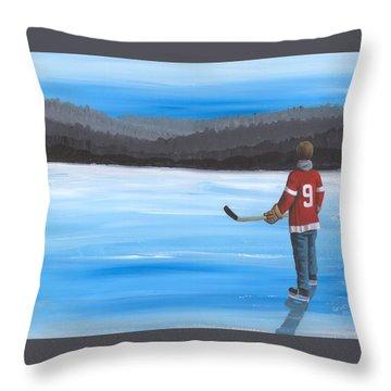 On Frozen Pond - Gordie Throw Pillow by Ron Genest