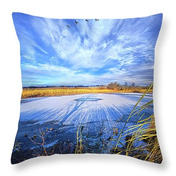 Throw Pillow featuring the photograph On Frozen Pond by Phil Koch