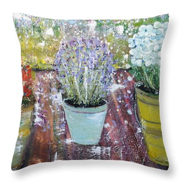 On Grandma's Porch Throw Pillow by Evelina Popilian