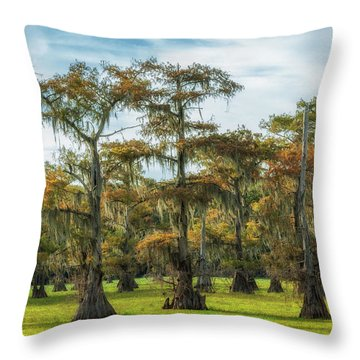 On Green Bayou Throw Pillow