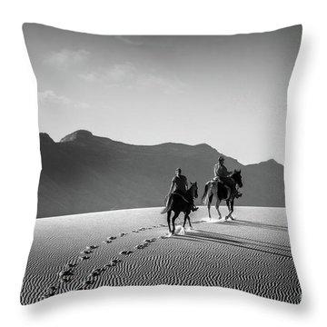 On Horseback At White Sands Throw Pillow
