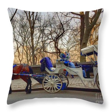 On My Bucket List Central Park Carriage Ride Throw Pillow