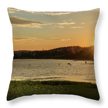Throw Pillow featuring the photograph On North Rustico Harbour by Chris Bordeleau