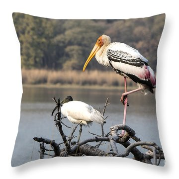 On One Leg Throw Pillow by Pravine Chester