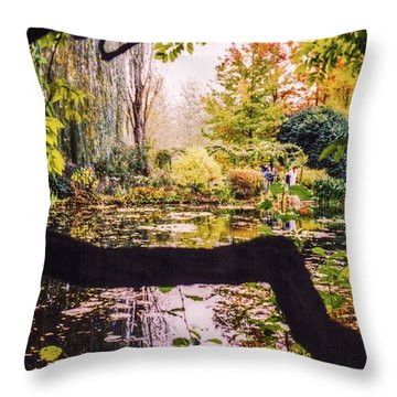 On Oscar - Claude Monet's Garden Pond  Throw Pillow