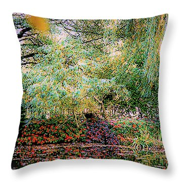 Reflection On, Oscar - Claude Monet's Garden Pond Throw Pillow