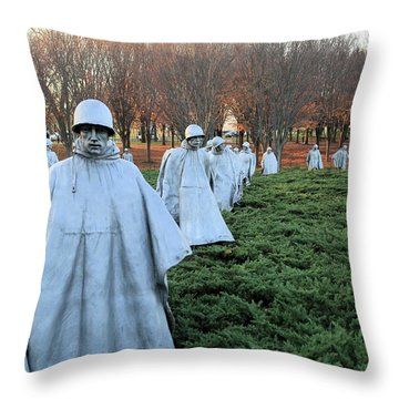 On Patrol The Korean War Memorial Throw Pillow