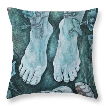 Throw Pillow featuring the mixed media On Sacred Ground by Sheri Howe