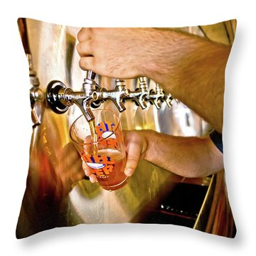 Throw Pillow featuring the photograph On Tap by Linda Unger