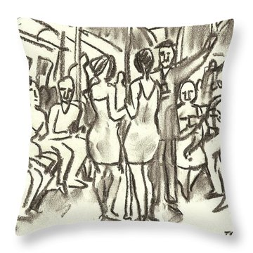 On The A, New York City Subway Drawing Throw Pillow