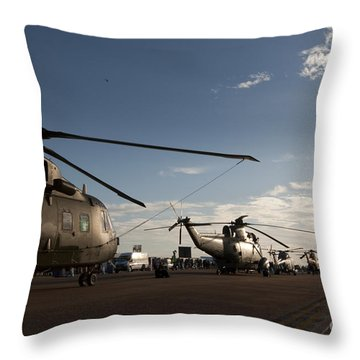 On The Airfield Throw Pillow by Angel  Tarantella