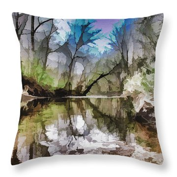 On The Bank Throw Pillow by Tom Druin