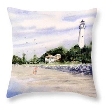 On The Beach At St. Simon's Island Throw Pillow
