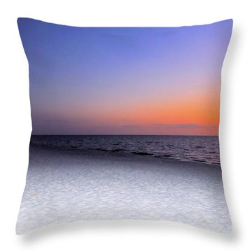 On The Beach At Sunset Throw Pillow