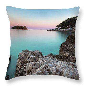 On The Beach In Dawn Throw Pillow
