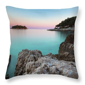 On The Beach In Dawn Throw Pillow