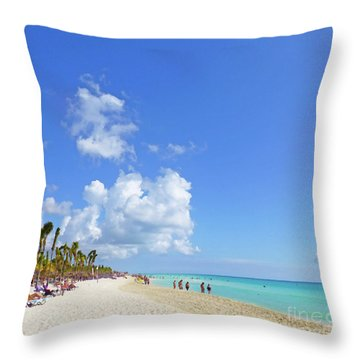 Throw Pillow featuring the digital art On The Beach M1 by Francesca Mackenney