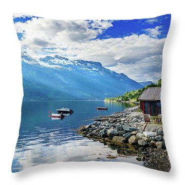 Throw Pillow featuring the photograph On The Beach Of Sorfjorden by Dmytro Korol