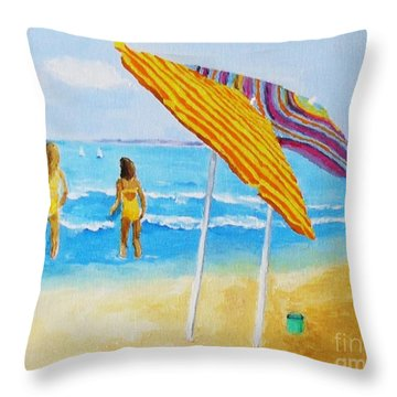 Throw Pillow featuring the painting On The Beach by Rodney Campbell