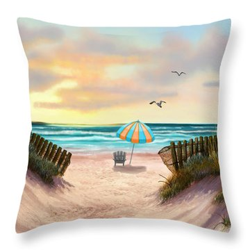 On The Beach Throw Pillow by Sena Wilson