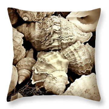 Throw Pillow featuring the photograph On The Beach - Shells In Sepia by Patricia Strand
