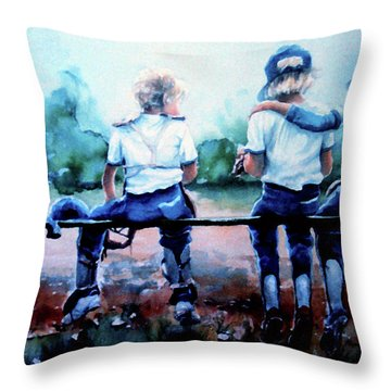 On The Bench Throw Pillow by Hanne Lore Koehler