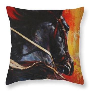 Throw Pillow featuring the painting On The Black by Harvie Brown