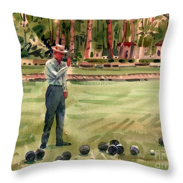 On The Bowling Green Throw Pillow by Donald Maier