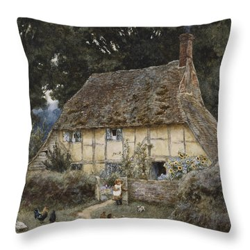 On The Brook Road Near Witley Throw Pillow by Helen Allingham