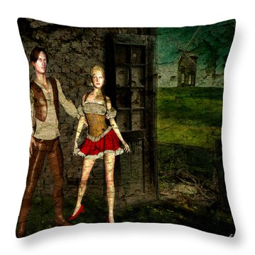 Throw Pillow featuring the digital art On The Farm  by Riana Van Staden